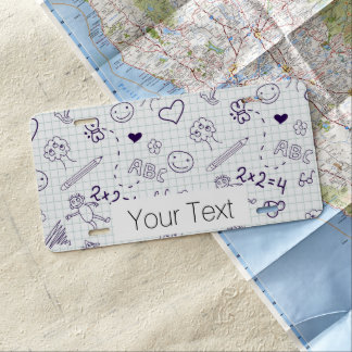 Children's Drawing Pattern License Plate
