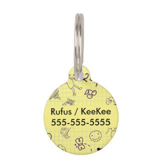 Children's Drawing Pattern Pet ID Tag