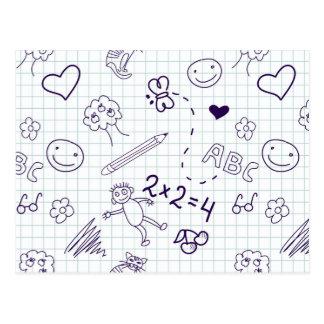 Children's Drawing Pattern Postcard