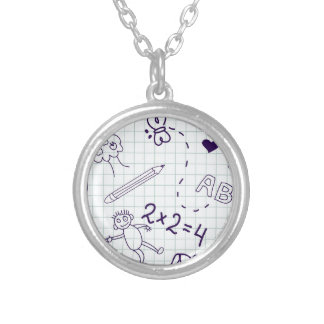 Children's Drawing Pattern Silver Plated Necklace