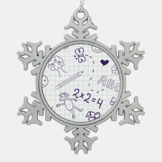 Children's Drawing Pattern Snowflake Pewter Christmas Ornament