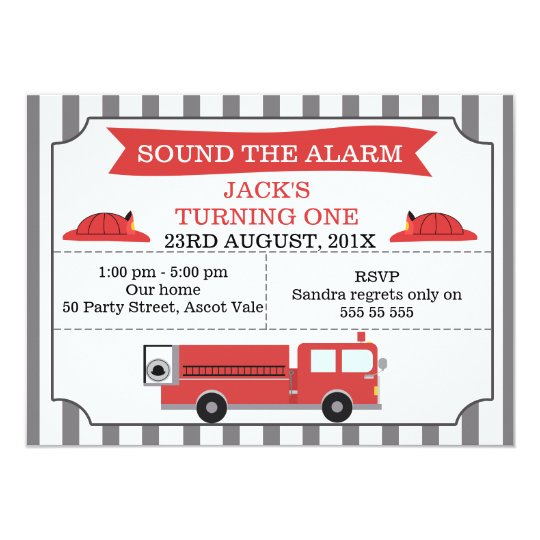 Childrens Fire Engine Birthday Party Invitation
