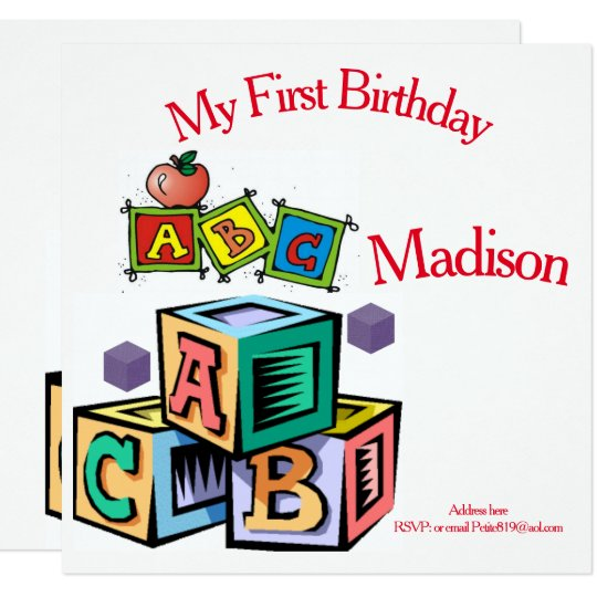 childrens first baby birthday invitation