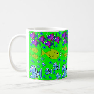 Children's fish juice-water-coffee-tea mug green