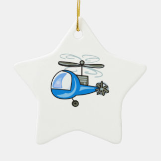 CHILDRENS HELICOPTER CERAMIC STAR ORNAMENT