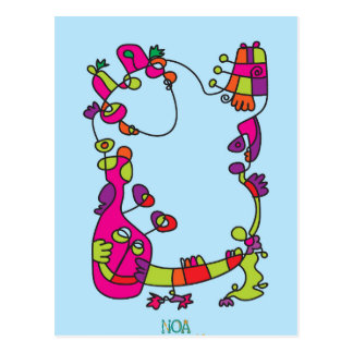childrens illustration happy naive cute friend postcard
