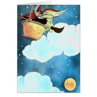 Children's Moon and Witch Card
