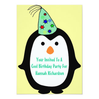 "Childrens Penguin In Party Hat Birthday Party 5.5"" X 7.5"" Invitation Card"