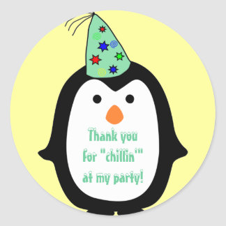 Childrens Penguin Wearing Party Hat Birthday Favor Classic Round Sticker
