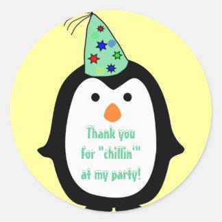Childrens Penguin Wearing Party Hat Birthday Round Sticker