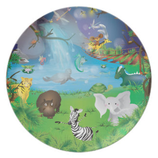 Childrens Plate - Tinterovaland Djungle