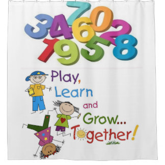 children's play learn white showercurtain