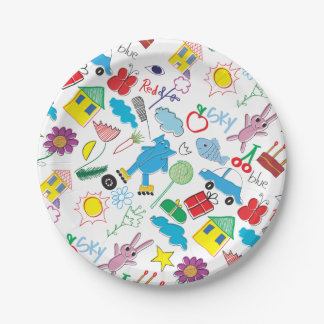 Children's Play Pattern - Elephant, Playtime 7 Inch Paper Plate
