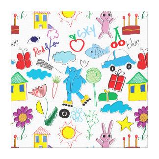 Children's Play Pattern - Elephant, Playtime Canvas Print