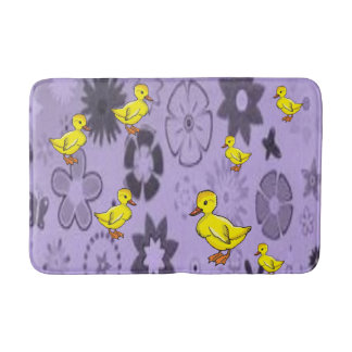 childrens purple yellow duck bathmat