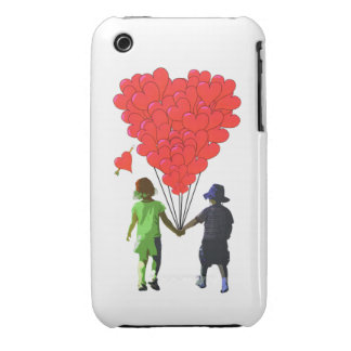 Childrens romantic heart balloon design iPhone 3 Case-Mate case