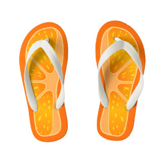 Children's Size Cute and Funny Orange Slice Kid's Flip Flops