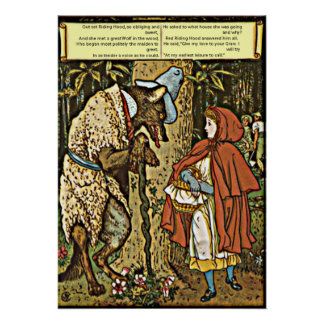 Children's Tale Little Red Riding Hood and Wolf Poster