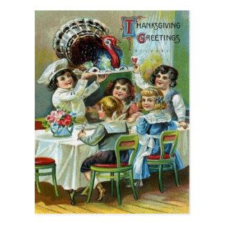 Children's Thanksgiving Dinner Postcard