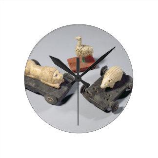 Children's toys: a hedgehog, a lion and a dove, Su Wallclocks