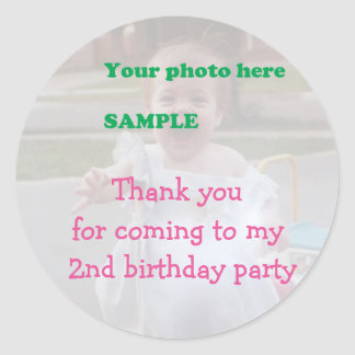 Child's 2nd Birthday Party Thank you Classic Round Sticker