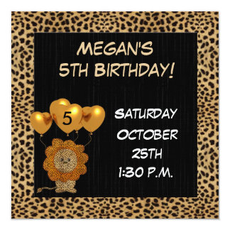 Childs 5th Birthday Party Invitation Cheetah
