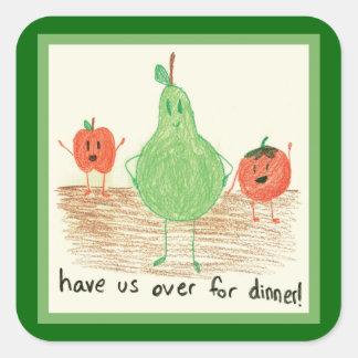 Child's Art, Green Square Sticker