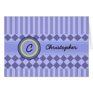 Child's Blue Stripes Monogram Note Card