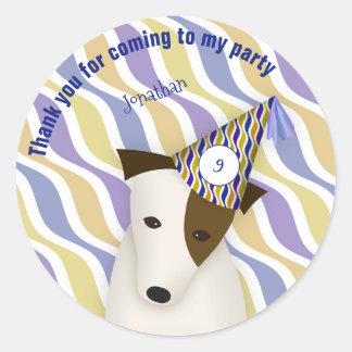 child's boy's puppy dog blue birthday party classic round sticker