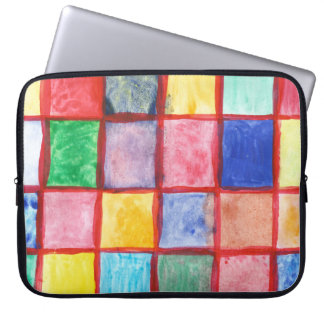 Child's drawing squares pattern laptop sleeve