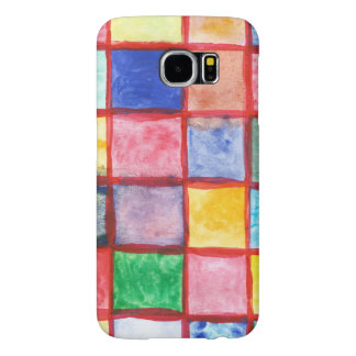 Child's drawing squares pattern samsung galaxy s6 cases