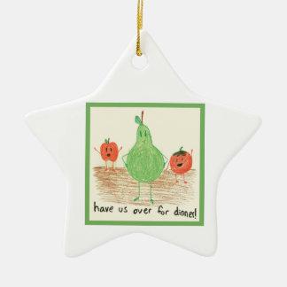 Child's Food Art, Green Ceramic Star Ornament
