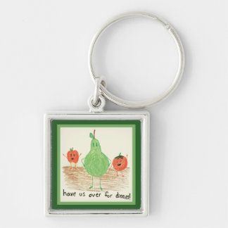 Child's Food Art, Green Silver-Colored Square Keychain