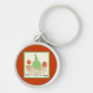 Child's Food Art Silver-Colored Round Keychain