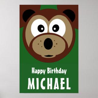 Child's Happy Birthday Cute Bear Poster