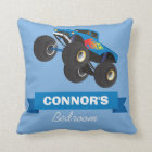 Childs Monster Truck Blue Personalized Name Throw Pillow