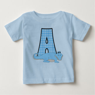 Child's Name and Letter A for Alligator Blue Baby T-Shirt
