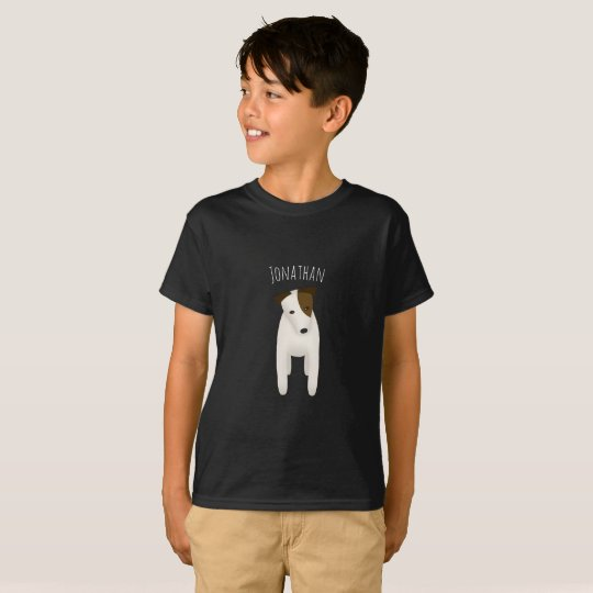 child's name on cute jack russell terrier dog T-Shirt