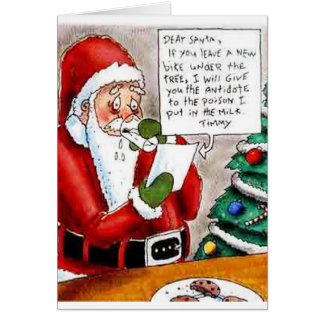 Child's Poison Threat to Santa Greeting Card