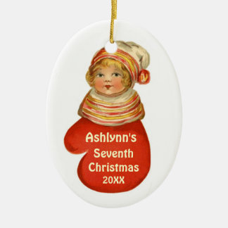Child's Sevent Christmas Custom Name Vintage X103C Ceramic Oval Ornament