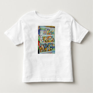 Child's T-Shirt with shelves of Toys & Bunnies