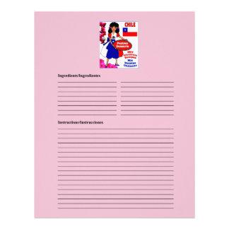 Chile blank desserts recipe cards letterhead template