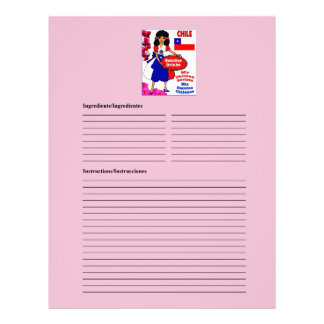 Chile blank drinks recipe cards custom letterhead