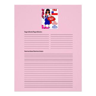 Chile blank meat recipe cards custom letterhead