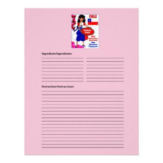 Chile blank pork recipe cards customized letterhead