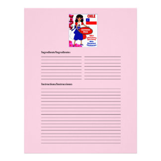 Chile blank rice recipe cards custom letterhead