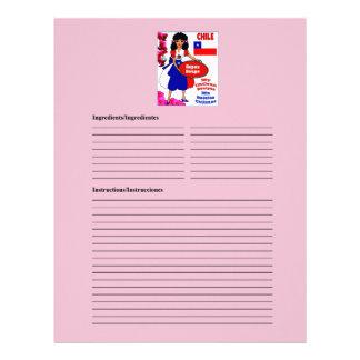 Chile blank soup recipe cards customized letterhead