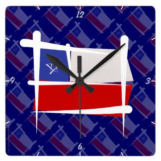 Chile Brush Flag Wallclock