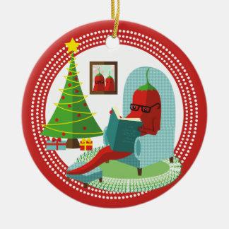 Chile chili pepper reading book Christmas ornament