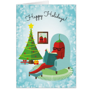 Chile chili pepper reading culinary Christmas card